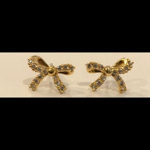 NWT 14K Gold Plated W/Pave CZ Ribbon Studs